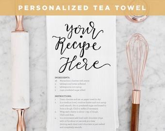 Recipe Tea Towel, Christmas Tea Towel, Personalized Towel, Handwritten Recipe Towel