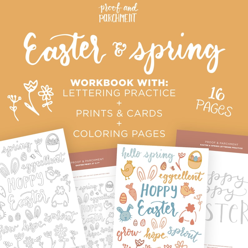 Easter Printable Lettering Worksheets Spring Coloring Pages image 0