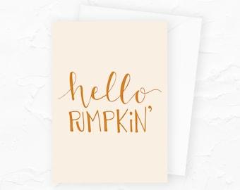 Hello Pumpkin Card, Fall Greeting Card, Pumpkin Halloween Card