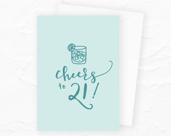 Personalized Happy Birthday Cards, 21st Birthday Card, Happy 21st Birthday, Cheers to 21