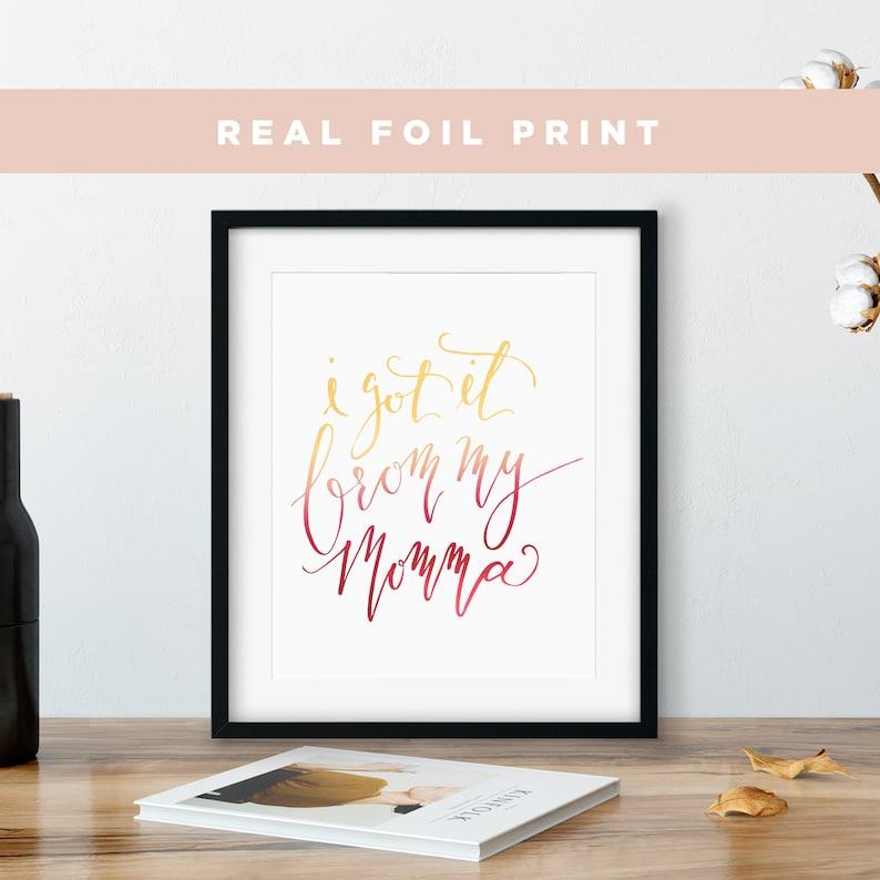 Feminist Foil Print Gift for Mom Feminist Art Mothers Day image 0