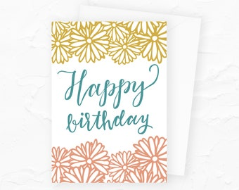 Floral Birthday Card, Happy Birthday Card with Flowers, Floral Doodles Card