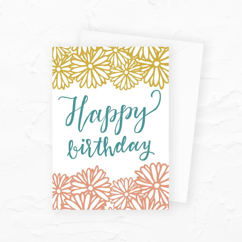 Floral Birthday Card Happy Birthday Card with Flowers Floral image 0