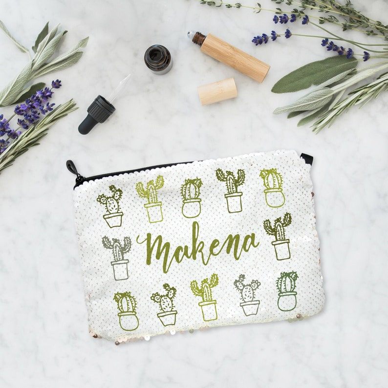 Personalized Plant Lover Sequin Makeup Bag Plant Lover Gift image 0