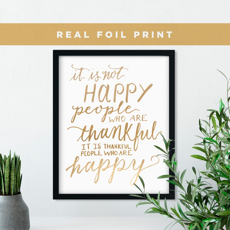 Inspirational Gold Foil Print Happy Quote Prints Wall Art image 0