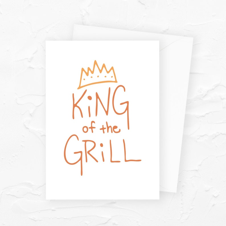 King of the Grill Fathers Day Card Grill Master Funny Fathers image 0