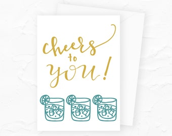 Cheers to You Happy Birthday Card, Drinking Birthday Card