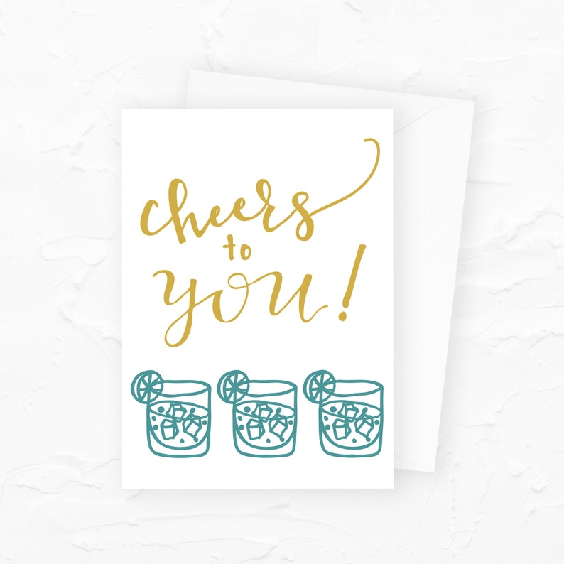 Cheers to You Happy Birthday Card Drinking Birthday Card image 0