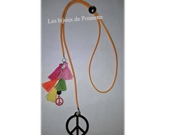 """Necklace style """"tie"""" peace & love"""