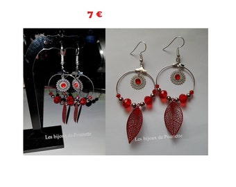 Creole earrings red and white