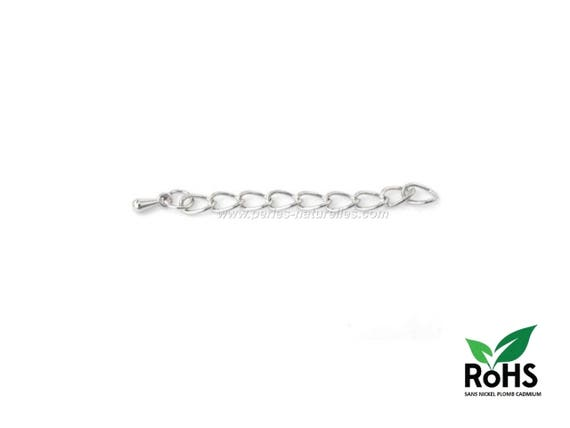 6 Extension chain with lobster clasps 76 x 4mm silver tone LC21