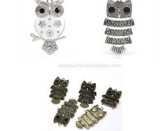 1 or 10 Owl pendants - Strass, Aged Silver or Bronze
