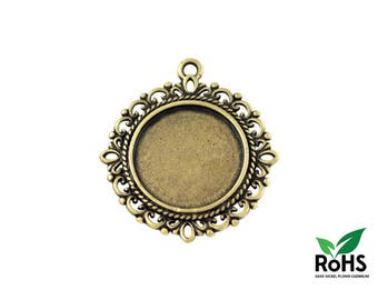 20mm - Bronze - 10 or 100 Pendant for Cabochon 20mm