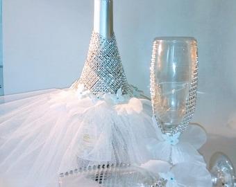 Decorative Wedding bottle and Glasses