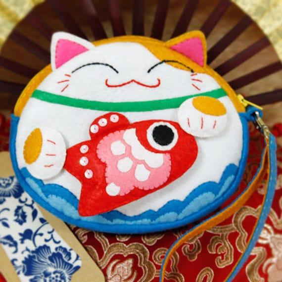 Diy Kit Lucky Cat Filz Portemonnaiegeldbörse Runde Tasche Etsy