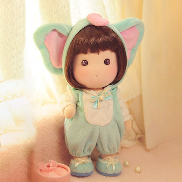 DIY Kit Doll with Elephant Costume/ Fabric Doll / Textile Doll / Cloth Doll / Soft Doll / Sewing Kit & DIY Kit Doll with Elephant Costume/ Fabric Doll / Textile Doll ...