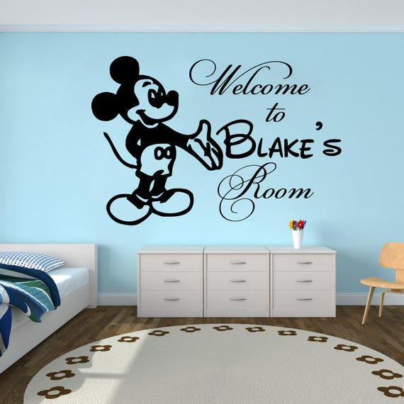 Personalized Sticker Girls Name Wall Decals Minnie Mouse Nursery Decor Kids SM73