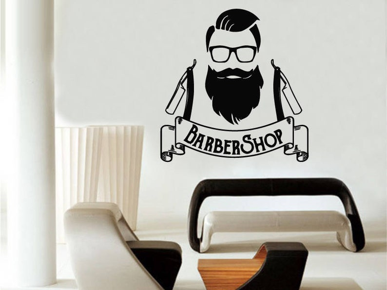 barber shop wall decal barbershop logo hipster wall decals | etsy