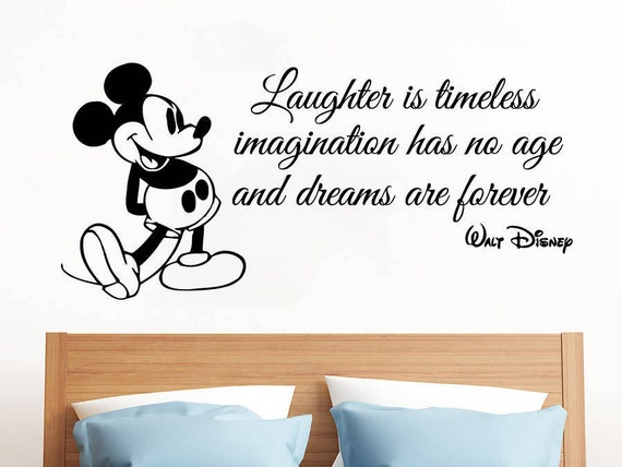 Laughter Is Time Wall Decals - Mickey Mouse Quote - Vinyl Stickers -  Nursery Decor - Mickey Mouse Wall Stickers -Boy Kids - Bedroom SM88
