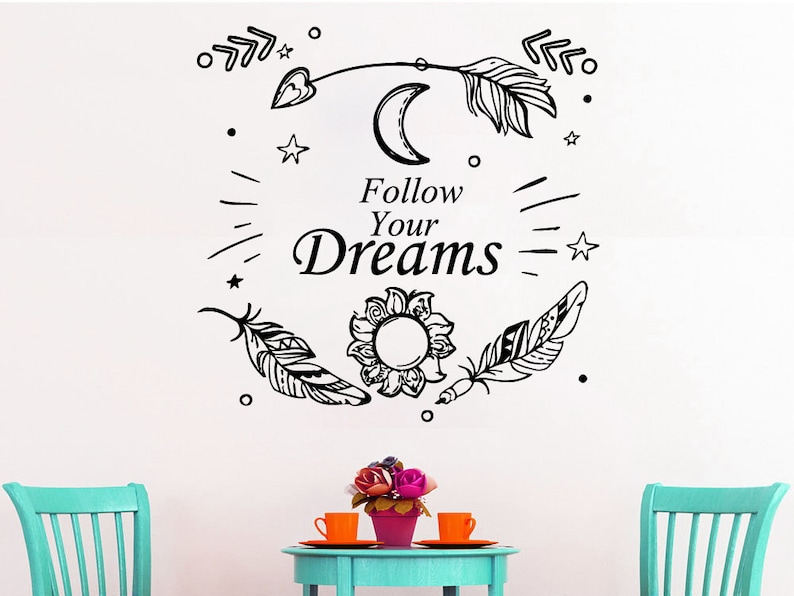 Wall Murals for Bedroom Arrow Decal Follow Your Dreams Wall Quote Feather Dreamcatcher Vinyl Stickers SM143 Boho Bohemian Decor