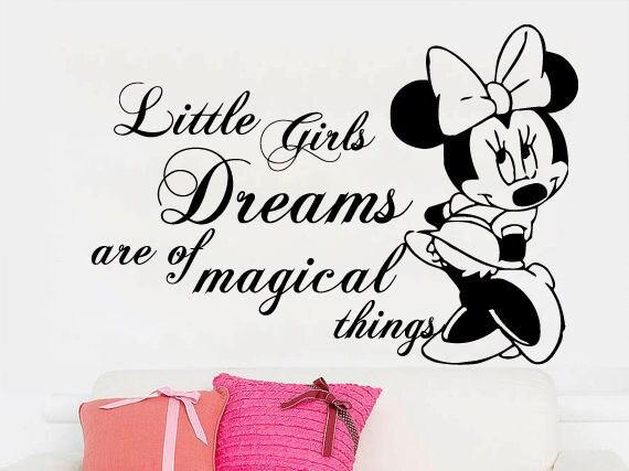 Wandtattoo Sprüche Minnie Mouse - Minnie Mouse Aufkleber - Vinyl-Aufkleber  - Kinderzimmer Dekor - kleine Mädchen Träume - Mädchen Schlafzimmer - Wall  ...