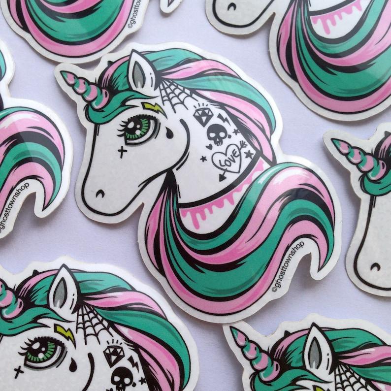 Unicorn Tattoo Einhorn Decal Kawaii Vinylsticker Aufkleber Vinyl Sticker Halloween Ghost Town