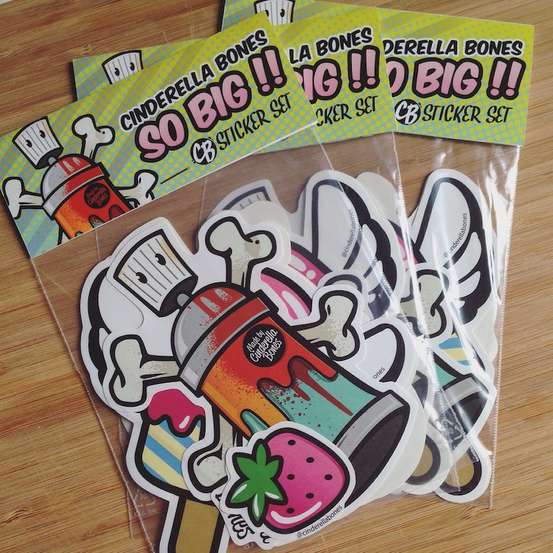 Sticker Vinylsticker Decal Comic Icecream Icepop Popsicle Motiv Cinderella Bones Orange Large