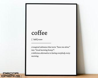 Coffee Definition Print, Coffee Print, Kitchen Wall Art, Coffee Print, Barista Prints, -- DIGITAL DOWNLOAD --