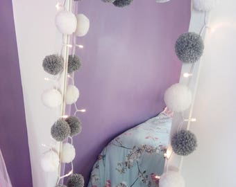 Fairy lights with 20 (white and grey) handmade yarn pompoms