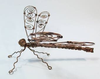Copper wire dragonfly wall-hanging or table sculpture, handmade, suitable for exterior and interior
