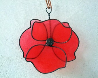 POPPY: Wall hanging poppy, copper wire and paper