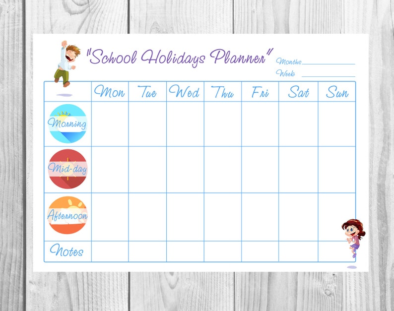 image about Blank Planner called Young children 7 days Blank Planner Small children Routine Young children Chore Chart Printable Function Gain Chart Obligation Chart Star Chart Small children web page Template