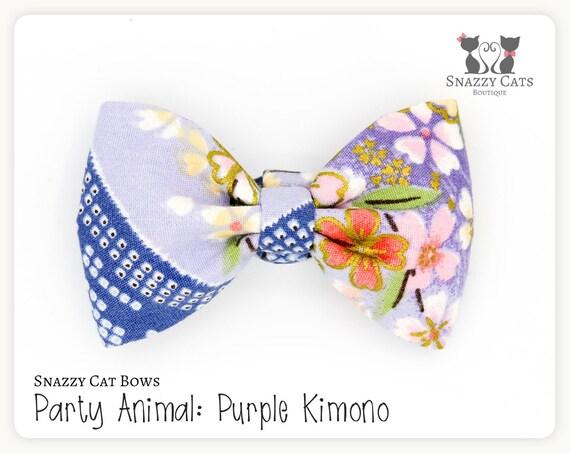 Tape à l'oeil de chat noeud papillon: Violet Kimono - Collection d'animaux en fête - Kimono chat noeud - noeud amovible confortable et élégant pour les chats et chatons