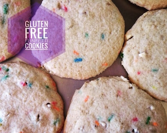 Low sodium (no salt!) gluten free funfetti sugar cookies.  With rainbow sprinkles for birthday or just for fun.