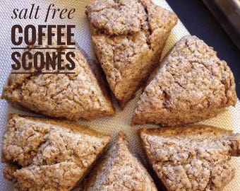 Low sodium Coffee Scones, half dozen.  Rich, buttery and dense, made with no salt.  Ships well, freezes great!
