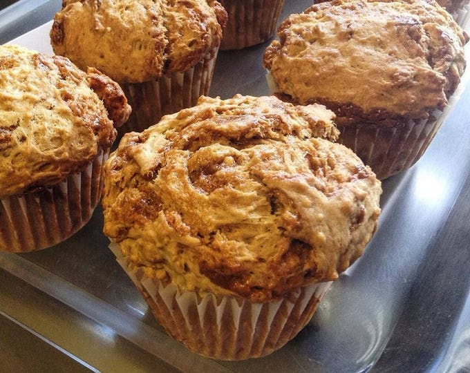 Six large, low sodium Caramel Swirl muffins.  Made with no salt.  Big, bakery-style muffins!  Dense, moist and hearty breakfast or snack.