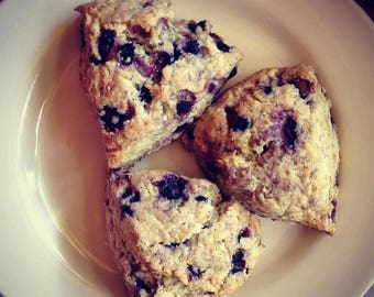 Low sodium Blueberry Lemon Scones, half dozen.  Rich, buttery and dense, made with no salt.  Ships well, freezes great!