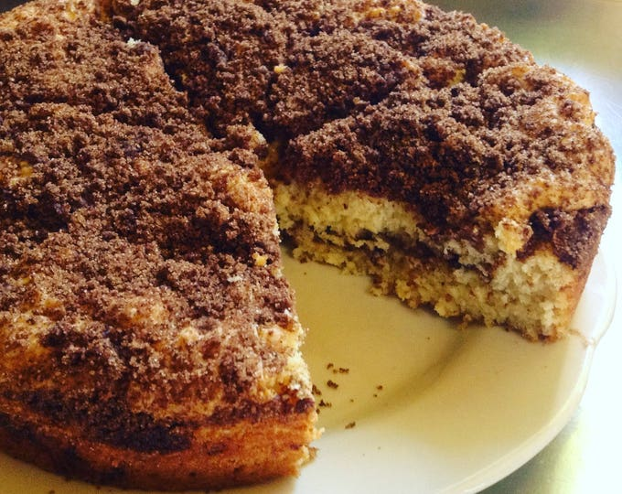 Low sodium (no salt!) streusel coffee cake with cinnamon or chocolate streusel crumb topping