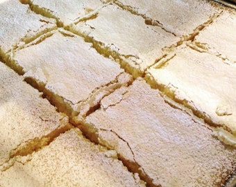 Low sodium/salt-free lemon bars--tart and sweet with a rich, buttery  shortbread crust.  8 small or 4 large bars
