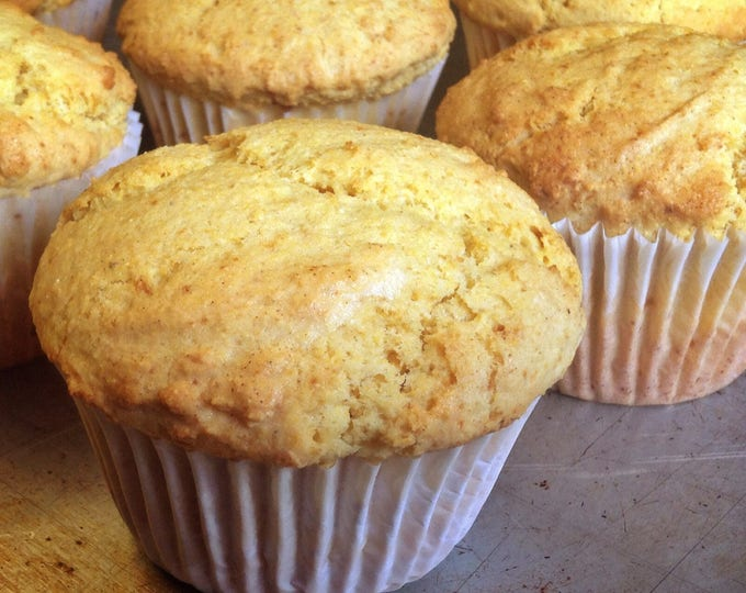 Six large, low sodium Corn muffins.  Made with no salt.  Big, bakery-style muffins!  Dense and hearty, perfect for breakfast or a snack.