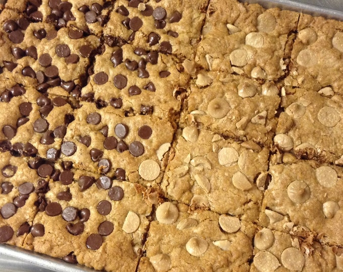 Low sodium blondies, 8 in a box.  Delicious, salt-free treat with chocolate chips or white chips.