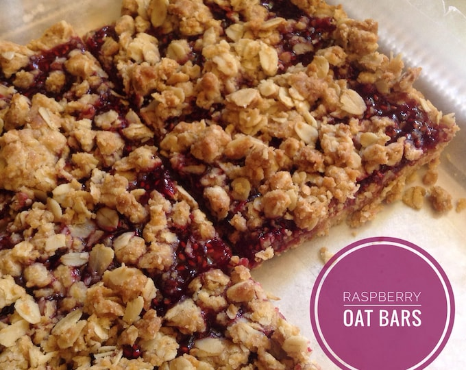 8 Low sodium/salt-free raspberry bars--made with our own raspberry jam, oats and brown sugar.  Hearty and delicious breakfast or snack