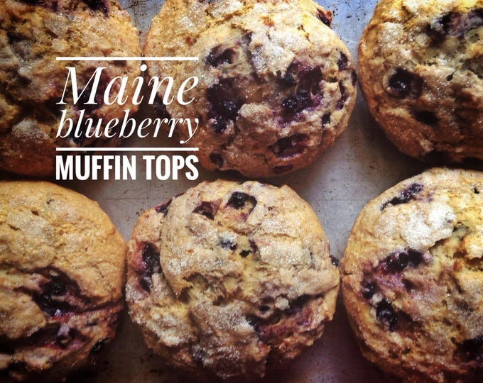 6 low sodium Wild Blueberry Muffin Tops made with Maine blueberries.  Large, moist, dense breakfast--the best part of the muffin!
