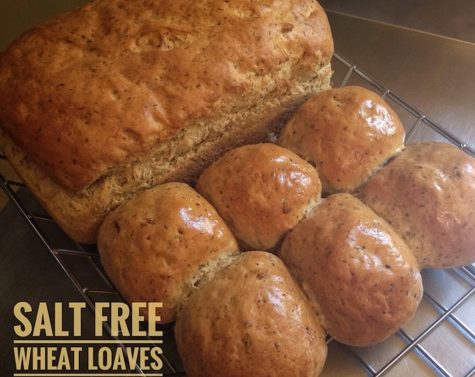 Low sodium whole wheat bread, as 2 loaves or 12 rolls.  Made with no salt and whole wheat for a hearty, delicious, very low sodium bread.