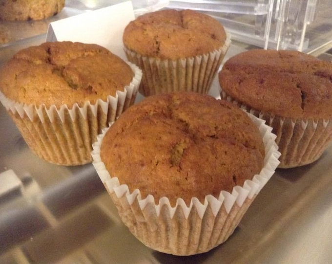 Six large, low sodium Pumpkin Spice muffins.  Made with no salt.  Big, bakery-style muffins!  One of our delicious fall flavors.