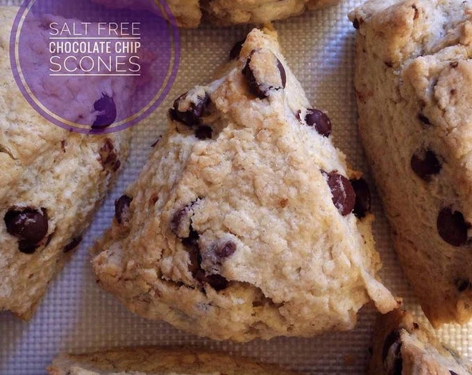Low sodium Chocolate Chip Scones, half dozen.  Rich, buttery and heavy, made with no salt.  Ships well, freezes great!