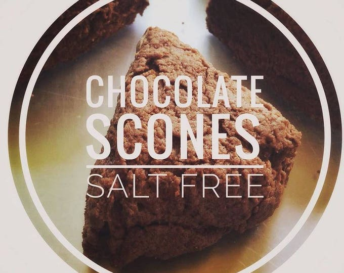 Low sodium Chocolate Scones, half dozen.  Rich, buttery and chocolaty, made with no salt.  Ships well, freezes great!