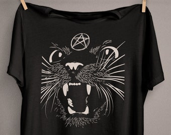 Black Sassy Cat T-Shirt, Witchy Witch Clothing, Wicca, Wiccan, Witchcraft, Occult, Pagan Clothing, Wiccan Clothing, Strega, Creepy Cute
