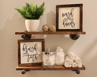 Bon Wash Your Hands Brush Your Teeth Signs, Wall Decor, Shelf Decor, Wood Sign,  Farmhouse Bathroom Signs, Bathroom Decor