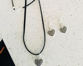 Women's Necklace  Antique Silver Heart Charm on Leather  Cord